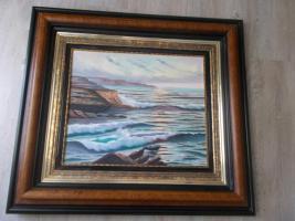 Ölbild auf Leinewand Wasserlandschaft mit Felsen Sonnenauf oder Untergang