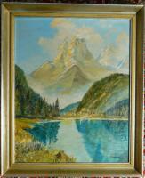 Ölgemälde Alpenlandschaft von I. Ketteniss (B046)