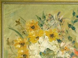 Foto 2 Ölgemälde Blumenstilleben um 1900 (B044)