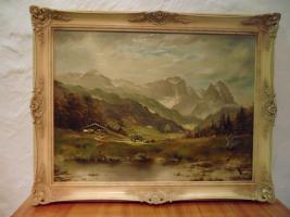 Ölgemälde mit Rahmen von Fenrich Motiv Berglandschaft
