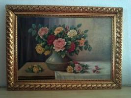 Ölgemälde Stilleben Rosen in Vase, goldfarbener Rosenrahmen 80x53 Bild/95,5x69 Rahmen