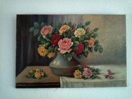 Foto 2 Ölgemälde Stilleben Rosen in Vase, goldfarbener Rosenrahmen 80x53 Bild/95,5x69 Rahmen