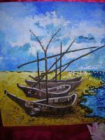 Ölmalerei ''Boote am Meeresufer''