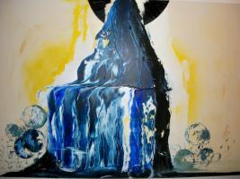 Original Armin Bosch abstrakte Kunst Mischtechnik Acryl/Öl auf Leinwand 100/70cm