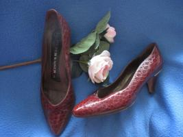 Original VINTAGE * Echt- Kroko Lack Leder * High- Heels * Pumps * Schuhe ''Peter Kaiser'' Gr. 36½ - 37/ 4 * kupfer- braun * gold *