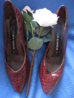 Foto 2 Original VINTAGE * Echt- Kroko Lack Leder * High- Heels * Pumps * Schuhe ''Peter Kaiser'' Gr. 36½ - 37/ 4 * kupfer- braun * gold *