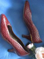 Foto 4 Original VINTAGE * Echt- Kroko Lack Leder * High- Heels * Pumps * Schuhe ''Peter Kaiser'' Gr. 36½ - 37/ 4 * kupfer- braun * gold *