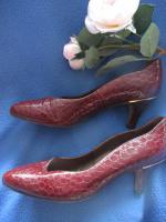 Foto 5 Original VINTAGE * Echt- Kroko Lack Leder * High- Heels * Pumps * Schuhe ''Peter Kaiser'' Gr. 36½ - 37/ 4 * kupfer- braun * gold *