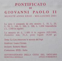 Foto 2 Original Vatikan Folder 2001 Anno XXIII
