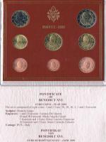 Foto 4 '' Papst Benedikt XVI. '' 3 Amtliche Original Vatikan Euro Kursmünzensätze 2006 , 2007 , 2008 in Stempelglanz .