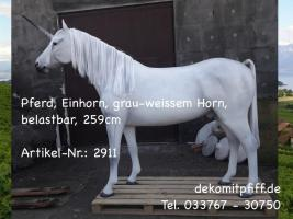 Pferd, #Einhorn, grau-weissem Horn, belastbar, 259cm  Artikel-Nr.: 2911