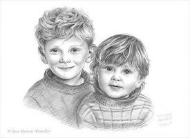 Portraitzeichnungen in Bleistift, Farbe...