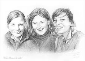 Foto 3 Portraitzeichnungen in Bleistift, Farbe...