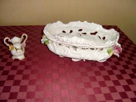 Porzellan Blumenschale mit kl. Vase