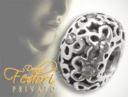 Privato Bead Diamond Flowers 925 Sterling Silber, Zirkonia