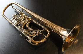 Foto 12 Profiklasse Konzert - Trompete A. Wolfram Markneukirchen, Goldmessing mit 2 Überblasklappen