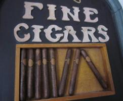 Foto 2 RJ Morgans Cigars - Holzschild – Werbeschild – Werbung 40x23 cm - selten