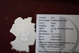 Foto 2 Rarität - Silbermünze in Länderform - 22g - DE in PP nur 22 EUR + Porto
