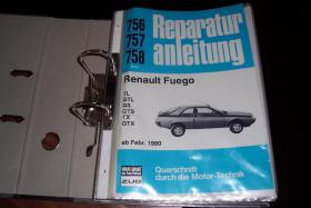 Reparaturanleitung fürRenaultFuego TL GTL GS GTS TX GTXab Feb. 1980