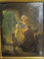 SELTENES GEMÄLDE VON HANS BRUNNER ca 1855