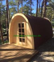 Sauna Pod und Camping Pod in massiver 58 mm Premium Wandstärke, viele Größen und Ausführungen, ..