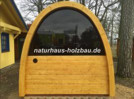 Foto 6 Sauna Pod und Camping Pod in massiver 58 mm Premium Wandstärke, viele Größen und Ausführungen, ..