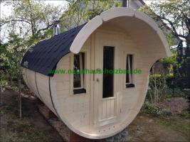 Foto 20 Sauna Pod und Camping Pod in massiver 58 mm Premium Wandstärke, viele Größen und Ausführungen, ..