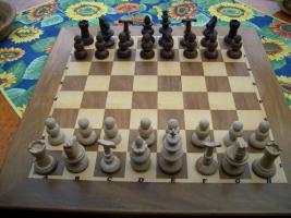 Schachfiguren aus Rio Palisander und Buche handgeschnitzt und gedrechselt