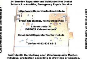 Schlüsseldienst für Tür, Tor, Fenster, Garagentor, Not, Öffnung, Aufsperr, Dienst Telefon 0162 439 6216 Kaiserslautern Bann Schopp Queidersbach Höringen Siegelbach