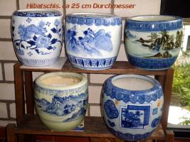 Foto 2 Schön dekorierte Japanische Hibachis (Keramiktöpfe)