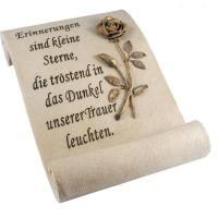 Foto 8 Schriftrolle Grabdekoration, Grabbuch mit Inschrift, Grabherz auf Sockel