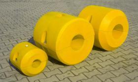 Schwimmer für Hydrotransport 315 mm Polyethylen zylinderförmig Polyurethan-Schaum gelb Neuware