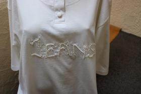 Foto 2 #Shirt m. Perlen, Gr. 50, #offwhite, #Top-Zustand, #Cadeaux
