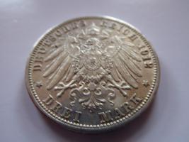 Foto 2 Silbermünze 3 Mark, 1912, Friedrich II Grossherzog von Baden