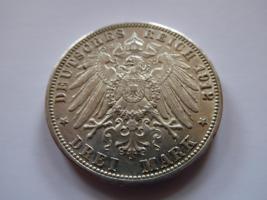 Foto 3 Silbermünze 3 Mark, 1912, Friedrich II Grossherzog von Baden