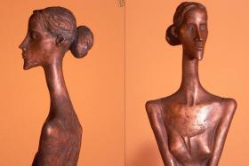 Foto 2 Skulptur Tänzerin Ballerina Bronze 74cm ausdrucksstark künstlerisch