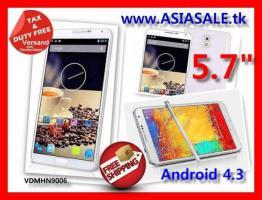 "Smartphone 5.7"" QuadCore Android 4.3 2Cams 3G nur € 199 versandkostenfrei"