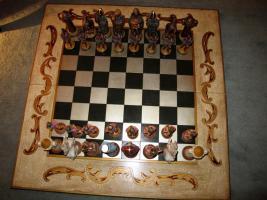 Foto 3 Spanisches lux. Schachbrett 1x1m. mit Holzfiguren 16bis23cm. handbemalt