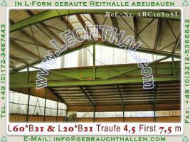 Foto 3 Stahlhalle gebraucht Reithalle arc1680sL [21x60x5/8m] + [21x20x5/8m] Gebrauchthalle abzubauen