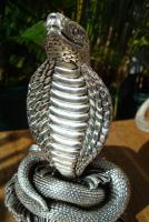 Foto 7 Sterling Silber 999 gestempelt erstaunliche Königskobra Schlange Statue eines Königs