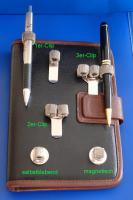 Stifthalter Stiftehalter Schreibhilfe Schreibgerät Stifteköcher Ansteck-Pin