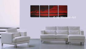 Foto 2 Still Night - 4 Acrylgemälde 40x130cm - Landschaft