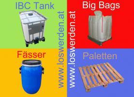 suchen gebrauchte Fässer, Big Bags, Oktabins, Paletten und IBC Tanks