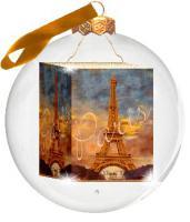 Foto-Weihnachtskugel Paris Eiffelturm