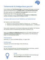 ***Teilnehmer und Teilnehmerinnen für Studie gesucht***   Forschung Intelligenztests Psychologie