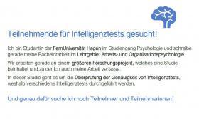 Foto 2 ***Teilnehmer und Teilnehmerinnen für Studie gesucht***   Forschung Intelligenztests Psychologie