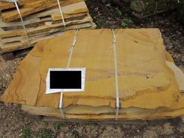 Terrassenplatten Polygonalplatten Sandstein Gelb Braun Marmoriert