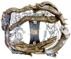 The funnel-time Uhr Unikat Handarbeit Treibholz Zinn Gold