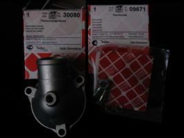 Foto 2 Thermostatgehäuse mit kpl. Zubehör und Thermostat (-Ventil ) für Mercedes Benz W201 , W123 und W124 – Neuteile - – für diverse MB Typen ! Preis incl. Versand : 70 Euro  -