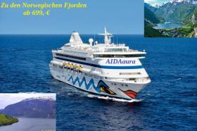 Traumhafte Kreuzfahrt zu den Atemberaubenden Norwegischen Fjorden 8 Tage ab 699, -€ mi AIDAaura!